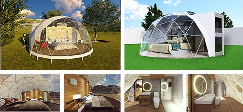 Glitzcamp glamping tent geodesic domes interior decoration