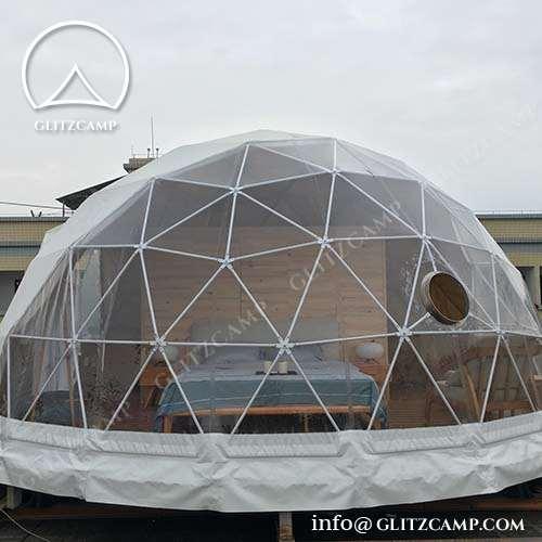 Half Clear Geodome Tent in Lake Resort