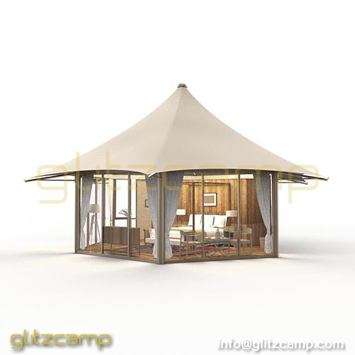 Single peak Glamping tent with glass walls