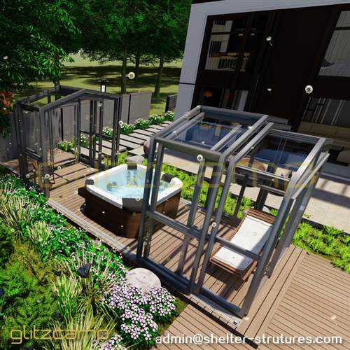 Free-standing Above Ground Pool Enclosure for Backyard Spa or Hot tub