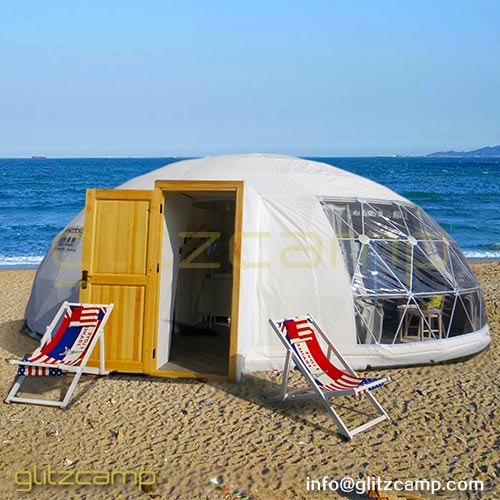 Elliptical Dome for Luxury Glamping Resort on the Beach, Tropical Forest